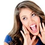 Surprised girl shouting — Stock Photo