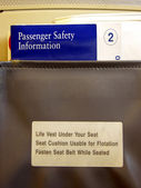 Airline-Seat Pocket Info — Stock Photo