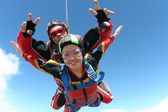 Skydiving photo. Tandem. — Stockfoto