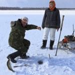 Ice fishing — Stock Photo