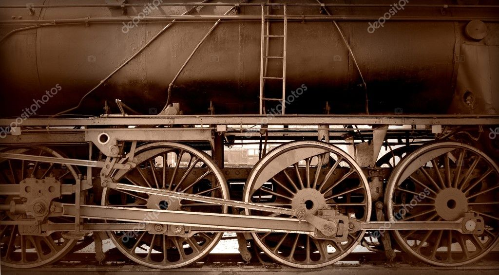 Closeup of the old rusty steam train wheels — Stock Photo #10416719