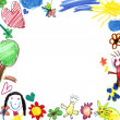 Stock Photo: Child drawing frame white