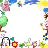 Child drawing frame white — Stock Photo