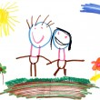 Child drawing family — Stock Photo