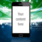 Mobile phone with christmas background — Stock Photo