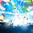 Many Colorful Smart Phones are flying Xmas Background - Stock Photo