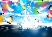 Many Colorful Smart Phones are flying Xmas Background — Stock Photo