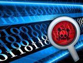 Glass focused on virus in digital code — Stock Photo