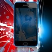 Love message - Smartphone illustration on abstract background — Stock Photo
