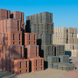 Stock Photo: Piled up bricks