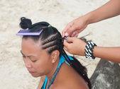 Hair braiding — Stock Photo