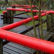 Red handrail — Stock Photo