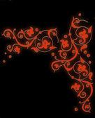 Patrón rojo brillante formado por volutas sobre un fondo negro — Foto de Stock