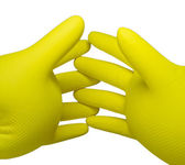 Two inflated rubber gloves with crossed fingers. isolated — Stock Photo