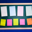 Chalk board with nine sticky note — Foto Stock