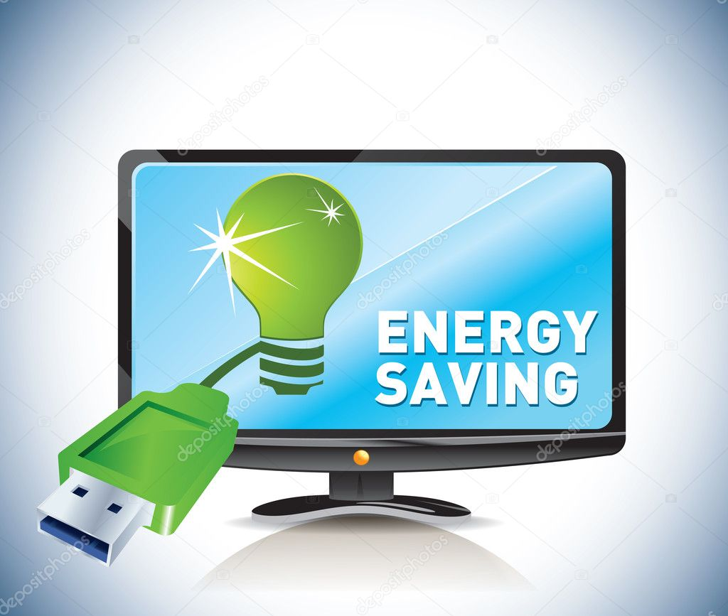 Energ saving. green screen — Stock Vector #10663811