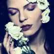 Beauty womface, fashion girl, portrait,with flowers in hair, eyes closed — Stock Photo #8080243