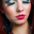 Portrait of attractive female model woman showing her face with makeup, eye — Stock Photo