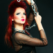 Sexy red hair rock and roll beauty woman, punk girl, fashion model in black — Stock Photo