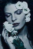 Beauty woman face, portrait with flowers — Stock Photo