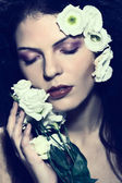 Beauty woman face, fashion girl, portrait,with flowers in hair, eyes closed — Stock Photo