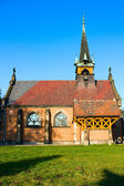 Gothic catholic church on blue sky, Swierklaniec, Poland, Europe — Stockfoto