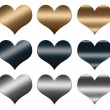 Hearts made of gold and silver metal, LOVE sign for design — Stock Photo