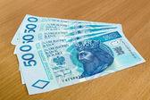Lucidare i soldi - zloty, banconote sul tavolo — Foto Stock