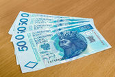 Polish money - zloty, banknotes on the table — Stock Photo