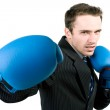 Portrait of man, handsome male model boxing in gloves — Stock Photo