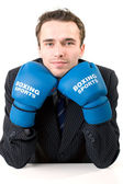 Handsome male model, young man, attractive businessman in suit and gloves s — Stock Photo