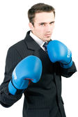Handsome male model, young man, attractive businessman in suit and gloves b — Stock Photo