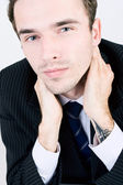 Closeup portrait of attractive young handsome man, male model as businessma — Stock Photo