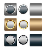 Set of metal silver gold push buttons for text or design — Stock Photo