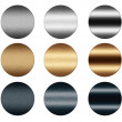 Scratched metal silver and gold round push buttons to insert text or web de — Stock Photo
