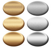 Scratched metal silver and gold oval push buttons to insert text or web des — Stock Photo