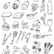Hand draw food icon collection — Stock Vector