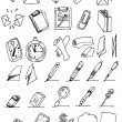 Hand draw communication icon set — Stock Vector