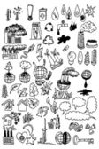Industrial versus nature elements — Stock Vector