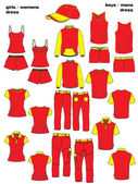 Big design dress sport top collection — Stock Vector