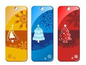 Christmas banners with tree vector — Stock Vector