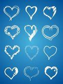Hand draw hearts vector — Stock Vector