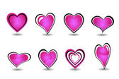 Beautiful pink heart element set vector — Stock Vector