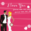 Stock Vector: Wedding couple wishes card design