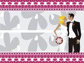 Karta świeże młoda para ślub — Wektor stockowy