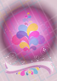 Convex purple ball and ribbon decoration — Stock Vector