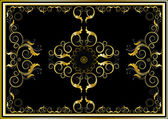 Oriental gold ornaments for rug in dark background. — Stock Vector