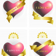 Variants of the heart and ribbons.Ilove you. Poster. — Stock Vector