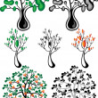 Stock Vector: Stylized trees of different species.Illustrations