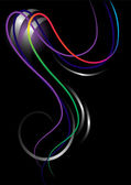 As listras brilhantes curvas em um background.banner preto — Vetorial Stock